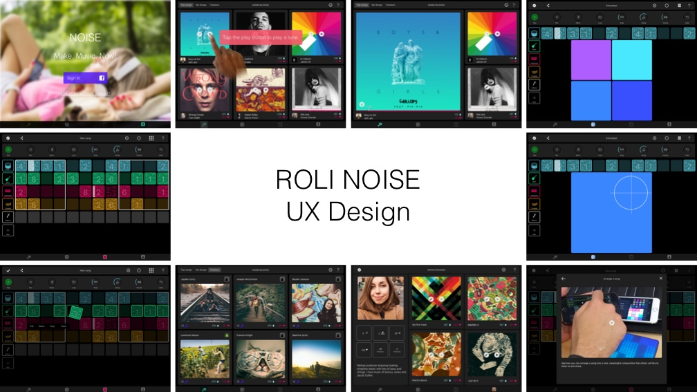 ROLI NOISE iPad wireframes